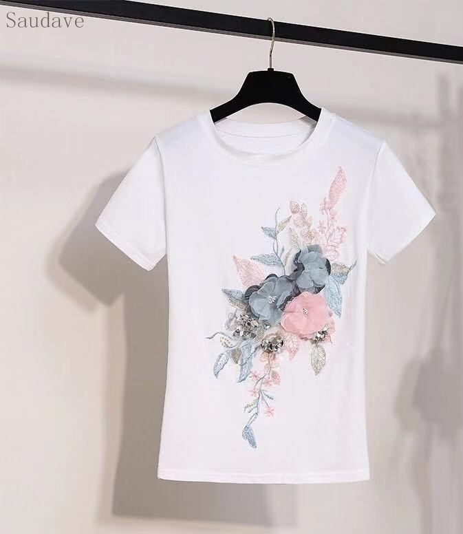 New Summer T Shirt Women Fashion 3D Flower Embroidery Tee Tops Short Sleeve O-neck Women T Shirts Casual Female White T-Shirt