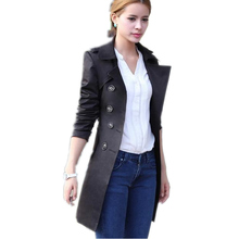 2 Colors Autumn Europe Style Women's Long Trench Coats long Sleeve Double Breasted Adjustable Waist Trench Coat For Women LD193