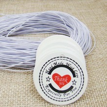 3*3cm white Price brand Tags300pcs round Hang Tags +300PCS Strings elastic white printed Thank you  Packing Labels tag gift tag