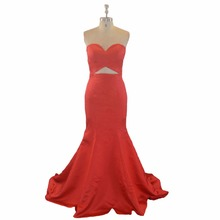 Sweetheart Satin Mermaid Long Red Evening Dress