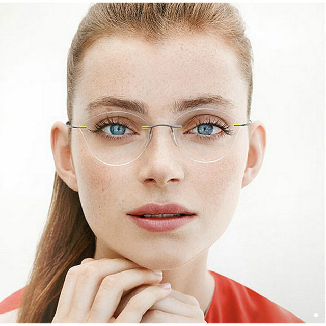 MINCL 2017 Cat Eye Rimless Prescription Glasses Frame Women Titanium Eyeglasses Myopia Optical