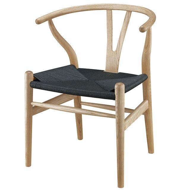 Modern Wishbone Y Chair Dining Designer Hans Wegner Wishbone Chair Solid  Ash Wood Furniture Dining Chair Armchair Natural/Black