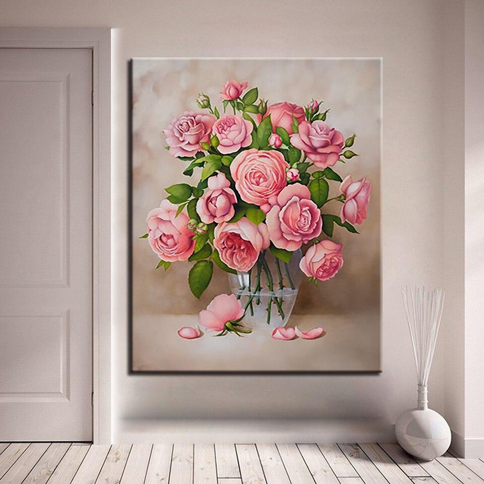 R375 36 De Descontorosas Rosa Diy Pintura Por Números Desenho Kits De Colorir Flores Vaso Quadros A óleo Acrílico Pintura à Mão Sobre Tela Para
