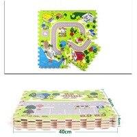 Nieuwe 4 stks 40*40 cm Stad Wegen Matten Baby Quiz Games schuim Kruipen Kussen Jigsaw Tapijt Spel C Vriendelijke Materiaal Game FCI #