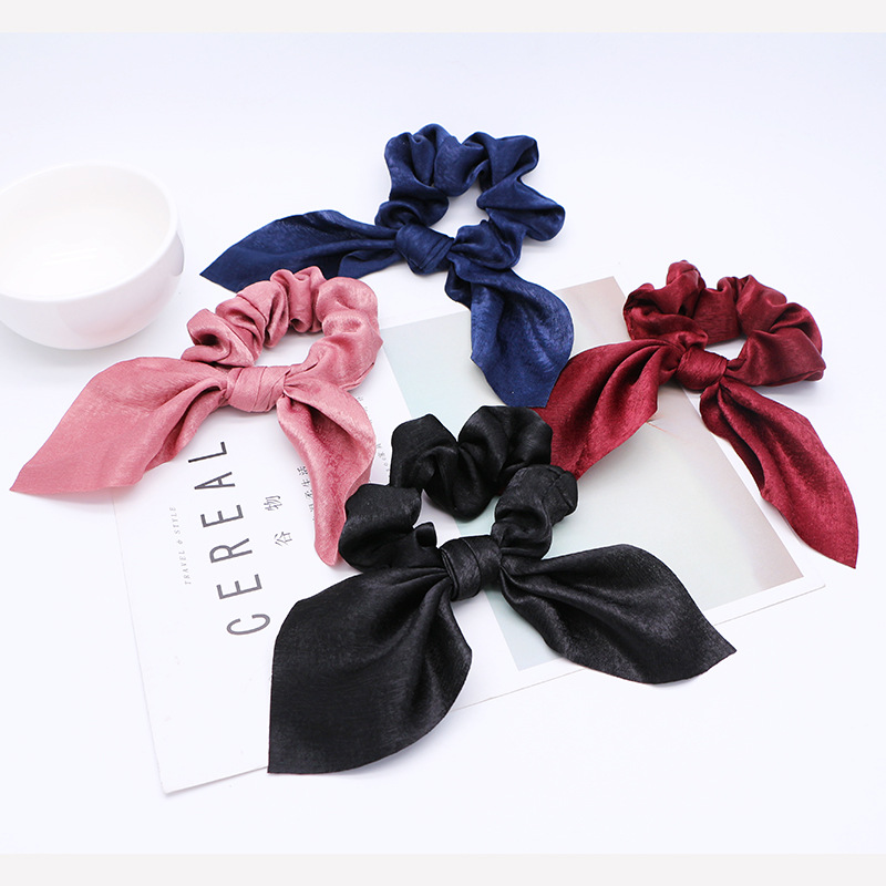 Hot Sale Women Rubber Bands Tiara Satin Ribbon Bow Hair Band Rope Scrunchie Ponytail Holder Elastic Gum for Hair Accessories in Women 39 s Hair Accessories from Apparel Accessories