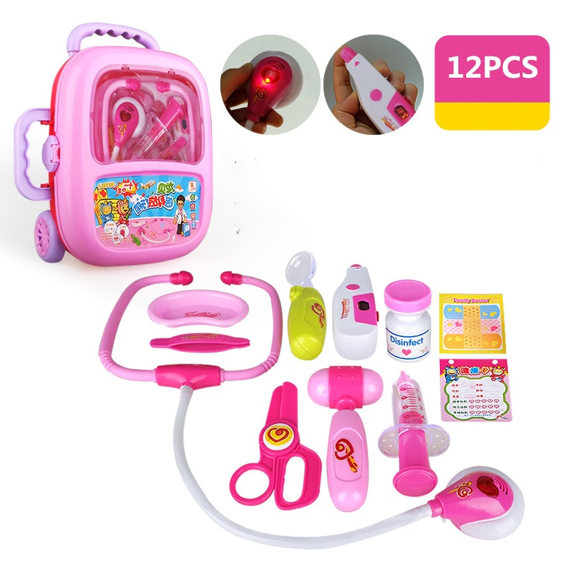 Pretend Play Toys Play Doctor Sets 12Pcs/set Gifts Kids Educational Pretend Doctor Bag Toy For Girl Boy Christmas Gift