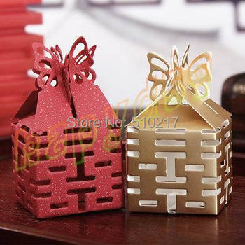 200pcs Double Xi hollow wedding day wedding candy box marriage charm shower favor candy boxes wedding party gift hold bag