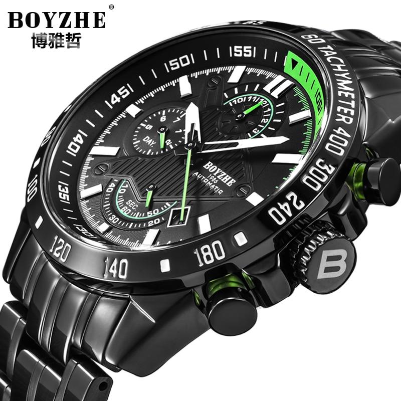BOYZHE クロノグラフメンズ腕時計トップブランドの高級メンズ腕時計機械式 Montres スポーツ Automatique オムドロップシップ  グループ上の 腕時計 からの 機械式時計 の中 1