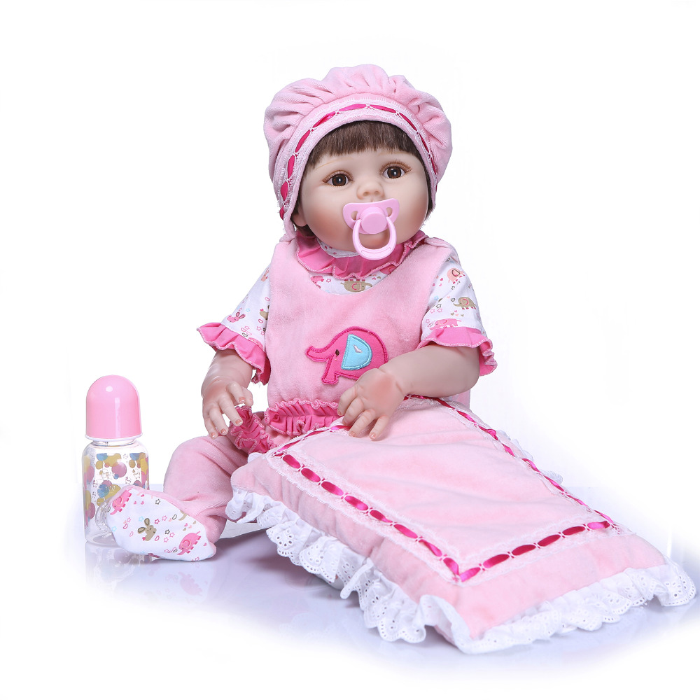 Nicery 22inch 55cm Bebe Reborn Doll Hard Silicone Boy Girl Toy Reborn Baby Doll Gift for Child Pink Hat Baby Doll nicery 22inch 55cm bebe reborn doll hard silicone boy girl toy reborn baby doll gift for children purple princess hat baby doll