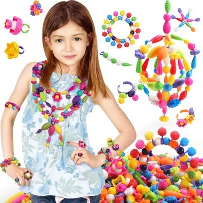 100 Pcs Pop Bead Toy Creativel Arts And Crafts For Kids Bracelet Snap Together Jewelry Fashion Kit Educational Toy For Children