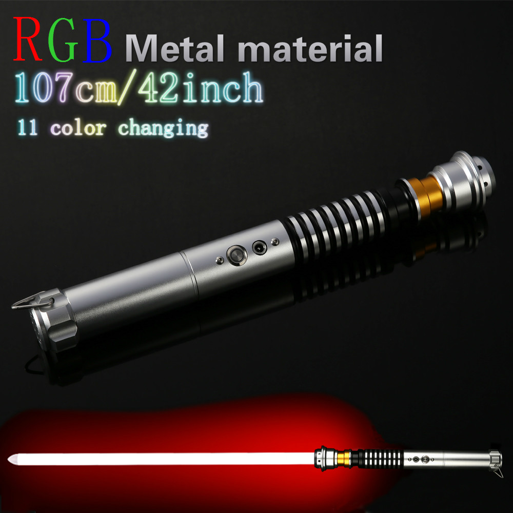 LED Lightsaber Luke Star Jedi Cosplay Light Saber With Voice Vader Sword Discoloration Metal Hilt Stick Luminous Lightstick