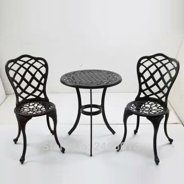 Set Of 3 Pcs Patio Cast Aluminum Coversation Bistro Set Garden Chairs And Table With Lattice Weave Desigh