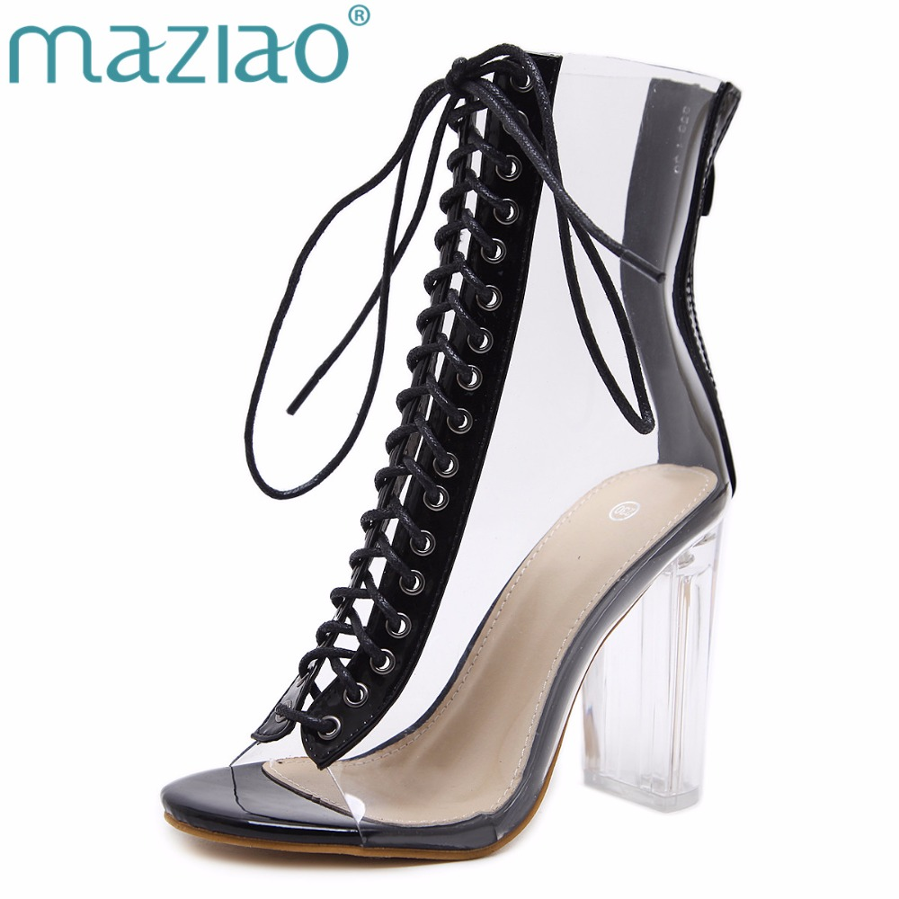 MAZIAO Women Pumps Gladiator Sandals PVC Clear Block High Heel Transparent Boots High Top Pumps Perspex Lucite Summer Shoes