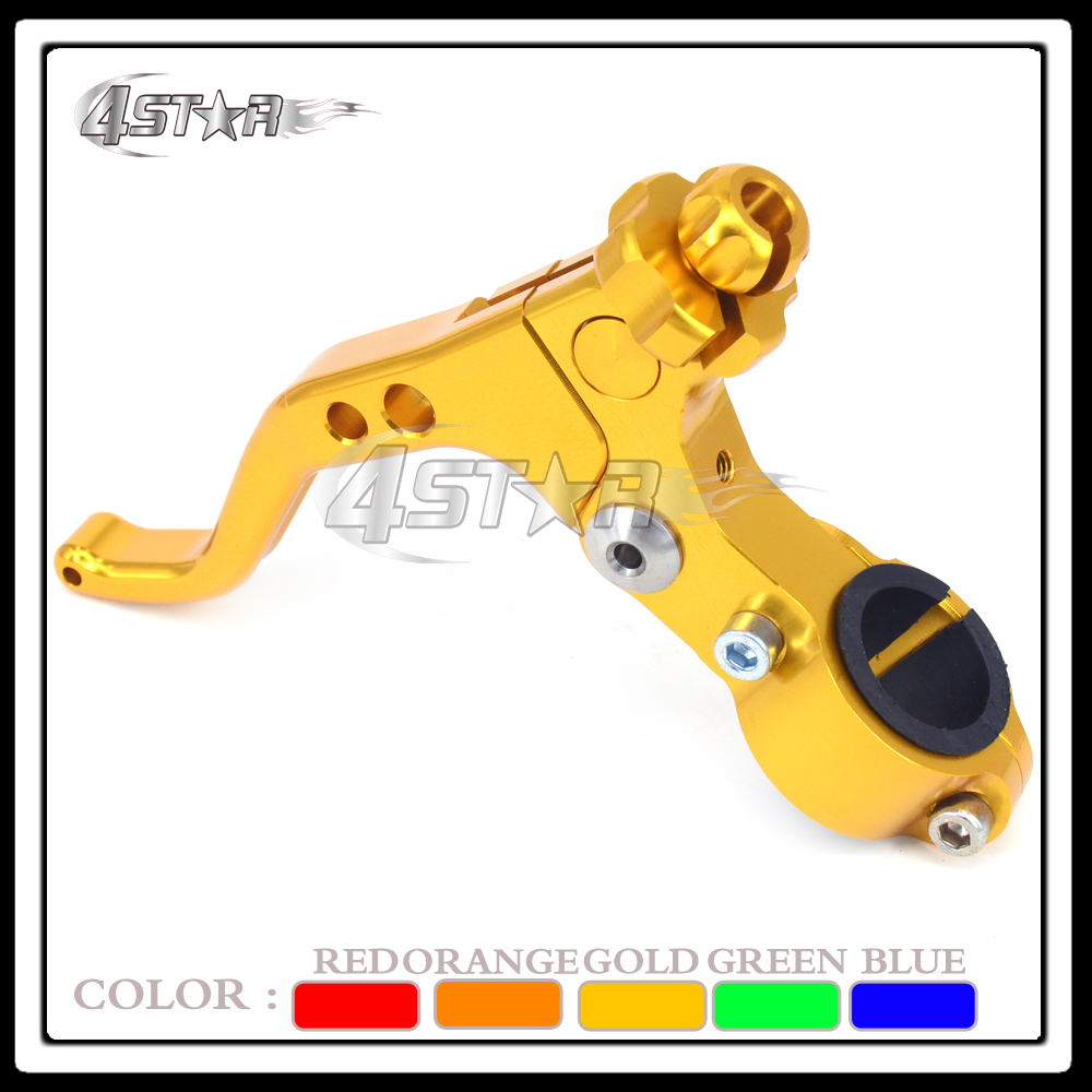 Billet Gold Motorcycle 22mm Handlebar Short MX Clutch Lever Perch 2 Fingers For RM RMZ DR DRZ Motocross Dirt Bike Free Shipping motocross mx dirt bike 22mm 7 8 handlebar cnc short stunt clutch lever perch assembly 6 color options