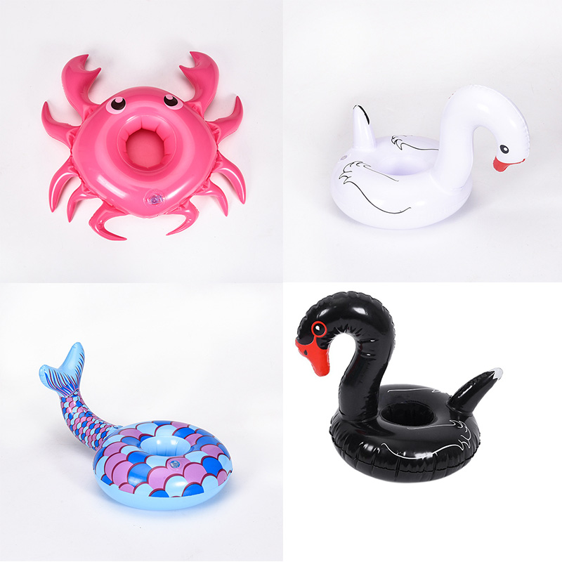 Inflatable Cup Unicorn Swan Crab Holder Drink Beer Table Bar Tray Swimming Pool Float Coaster Summer Beach Party Toys