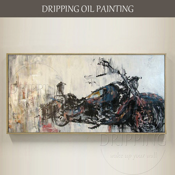Skilled Artist Hand-painted Modern Wall Art Halley Motorcycle Oil Painting on Canvas Hand-painted Motorcycle Oil Painting