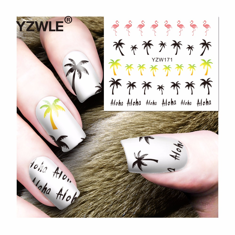 YZWLE 1 Sheet DIY Decals Nails Art Water Transfer Printing Stickers Accessories For Manicure Salon (YZW-171) yzwle 1 sheet hot gold 3d nail art stickers diy nail decorations decals foils wraps manicure styling tools yzw 6015