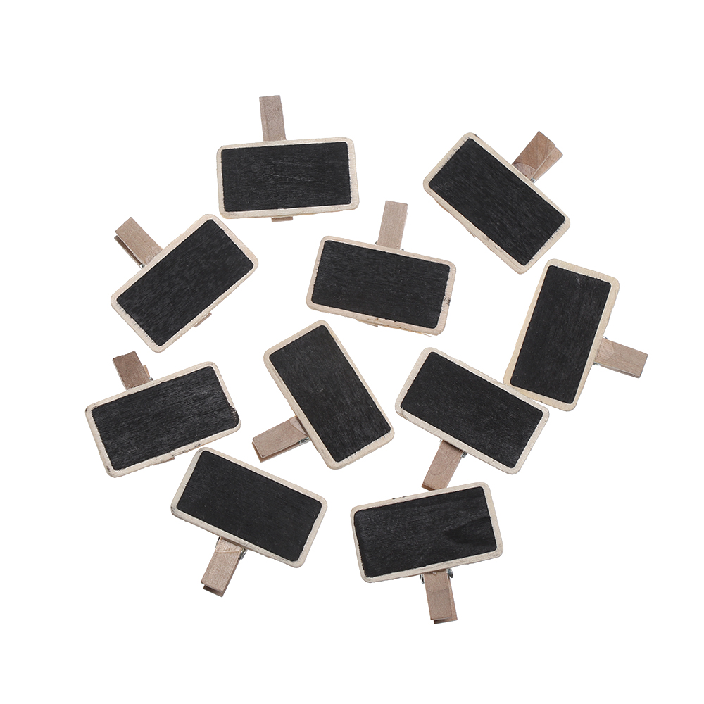 10Pc/Set Mini Blackboard Wood Message Slate Rectangle Clip Panel Card Memos Label Brand Price Place Number Table