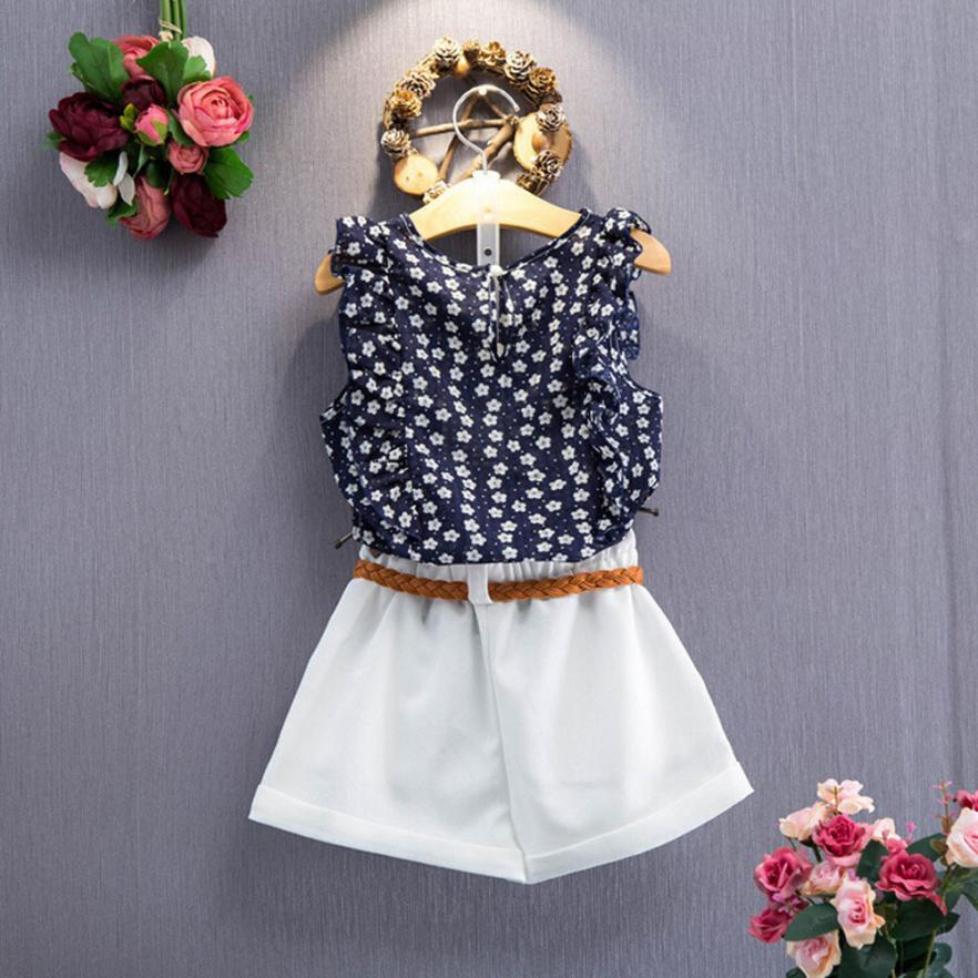 3PCS Toddler Kids Baby Girls Summer Outfit Clothes T-shirt Tops+Shorts Pants Set 0507 2016 new toddler kids baby girls clothes toddler kids t shirt tops long pants trousers 2pcs outfit clothing set