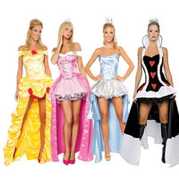 sexy deluxe queen of heart costume/Princess Belle costumes/Cinderella princess dress /Sleeping Beauty pink princess fancy dress