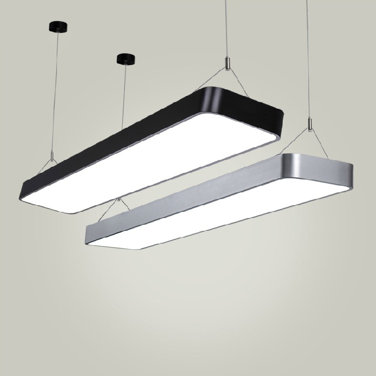 A1 Modern Pendant Lights simple LED office long strip aluminum rectangular commercial lighting market ultra-thin lamps ce emc saa rohs gs ul listed commercial 100w commercial led pendant lights
