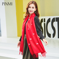 PINMI Brand Women Thin Cashmere Scarf Flamingos Embroidery Shawl New Pure Color Tassels Warm Winter Soft