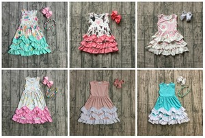 Image 1 - Novedad de verano, vestido maxi de algodón para niñas, color menta, floral, rosa, unicornio, azul sólido, volantes, sin mangas, collar y lazo