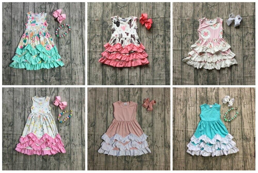 Sommer neue ankünfte baby mädchen baumwolle maxi kleid mint floral rosa einhorn feste blaue rüschen ärmel spiel halskette und bogen