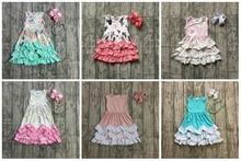 הקיץ חדש עזיבות תינוק בנות כותנה מקסי שמלת מנטה פרחוני ורוד unicorn מוצק כחול קפלי שרוולים התאמה שרשרת וקשת