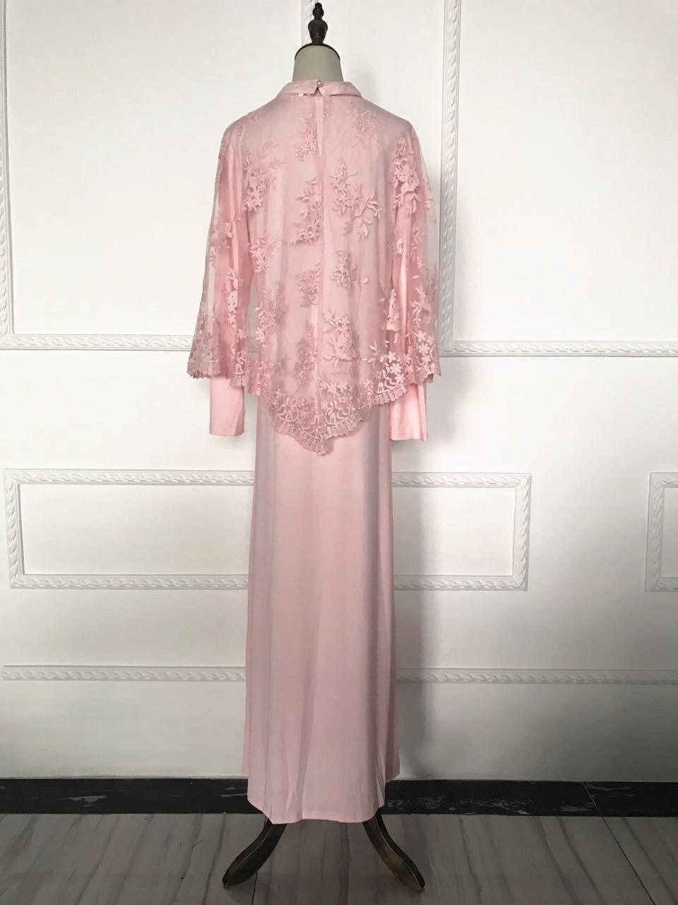 Vestido Maxi musulmán abaya Bordado Encaje larga túnica vestidos ...