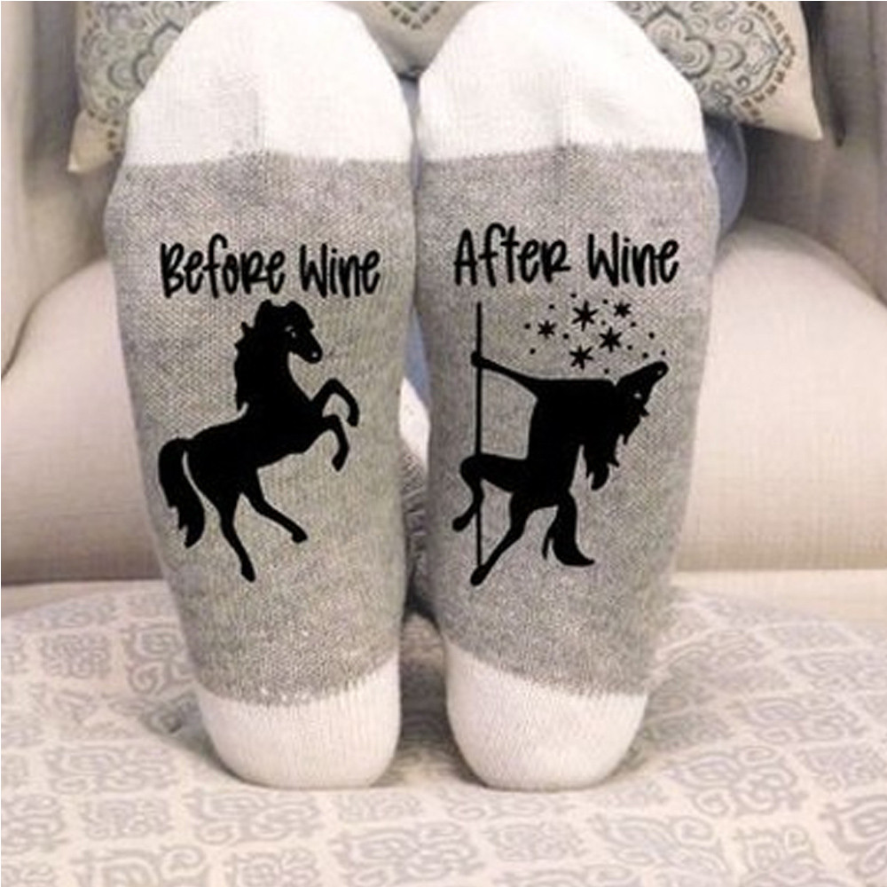 Stylish 1 Pairs Women   Socks   Keep Warm Cotton   Sock   Novel Style Meias Comfortable Floor   Socks   Funny Wine Theme Hocoks Socquette