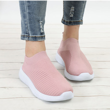 Women Sneakers Mesh Knitting Flat Running Shoes Lightweight Slip-on Breathable Autumn Walking Sport Shoes Plus Size 35-43 plus size flat shoes woman fashion bow big size women flats shallow mouth women s shoes for spring autumn size 35 43 wsh2345