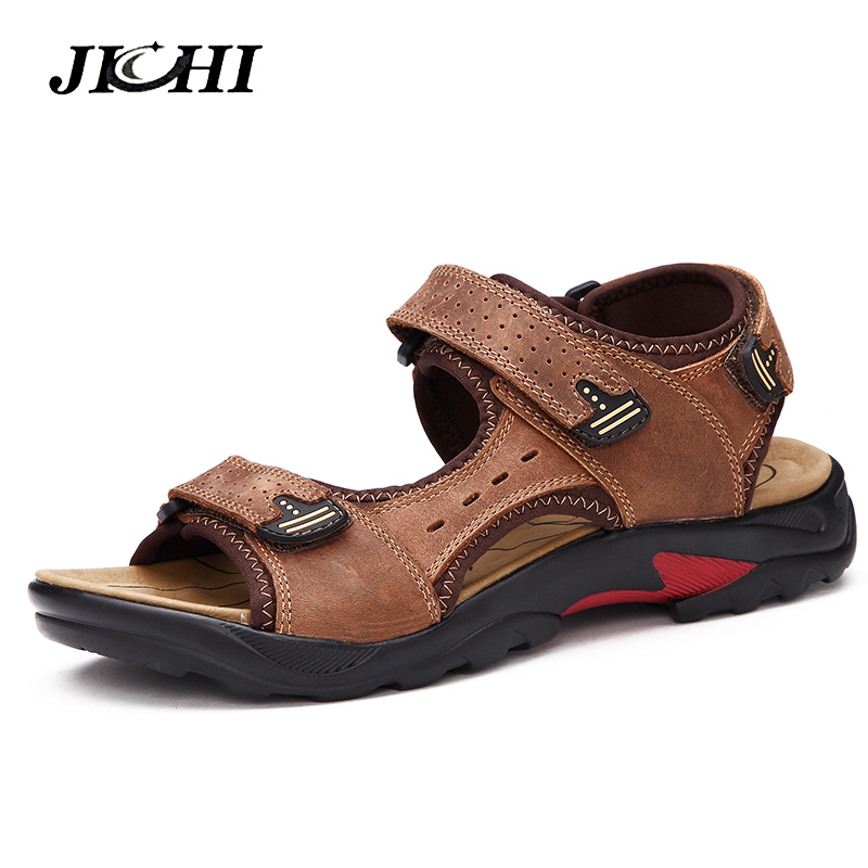 2019 Men's Sandals Summer High Quality Brand Shoes Beach Men Sandals Causal Shoes Genuine Leather Fa