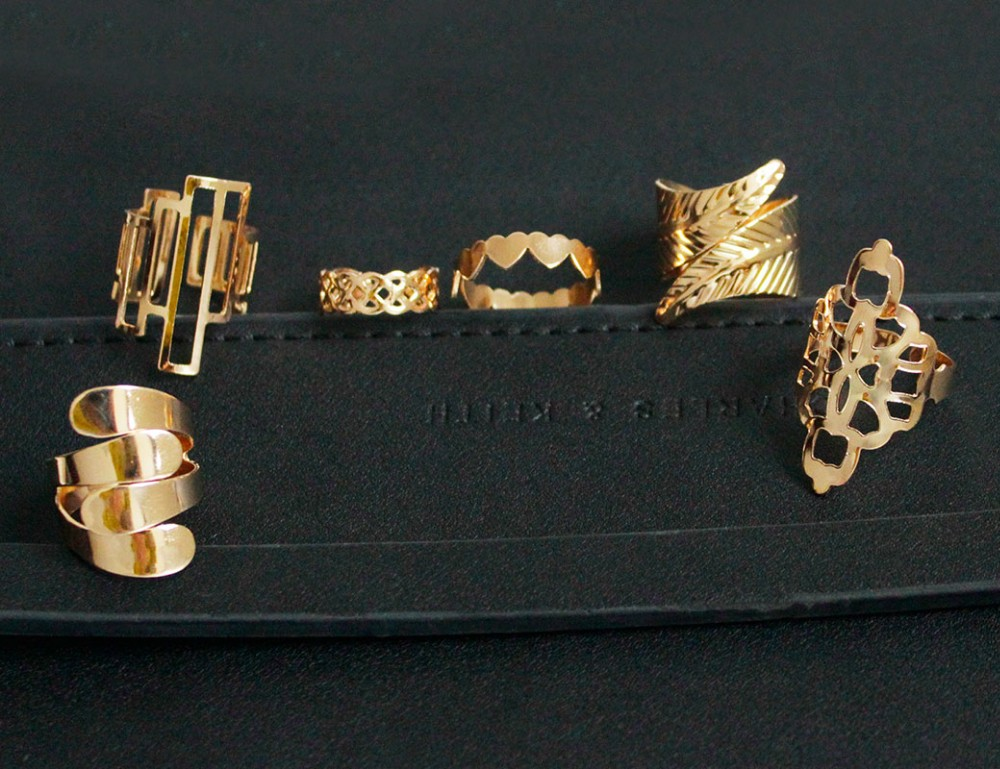 Zinc Alloy Metal Gold Plated With Pattern Rings Set (6 Pieces)