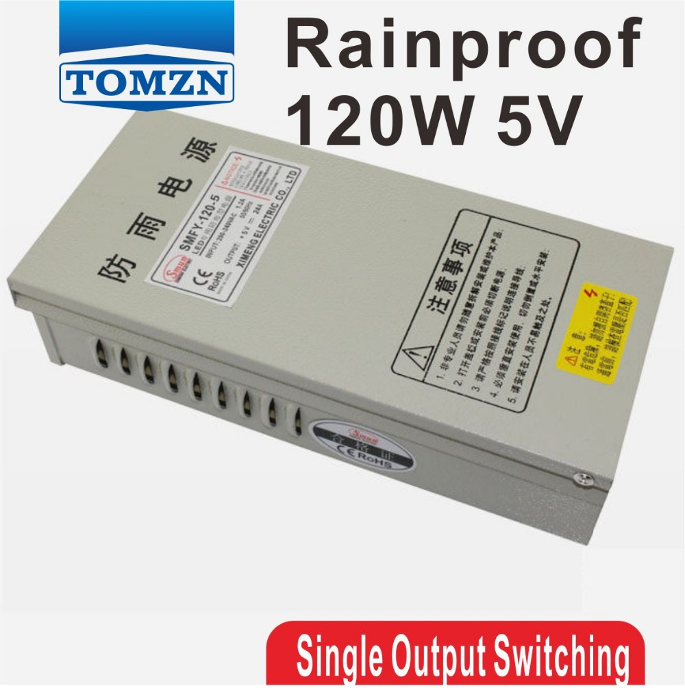 120W 5V 24A Rainproof outdoor Single Output Switching power supply smps AC TO DC for LED