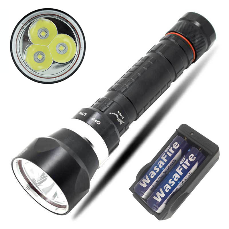 Professional Scuba Diving Flashlight 3x XML L2 LED Underwater Diver Diving Torch Flash Light Lamps + 2*18650 Battery + Charger sitemap 27 xml
