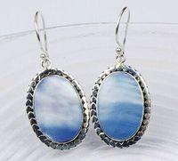 2015 New Ethnic Elegant Oval Ocean Blue Mother Of Pearl 925 Sterling Silver Dangle Earrings For OL Women Promotion Summer Style