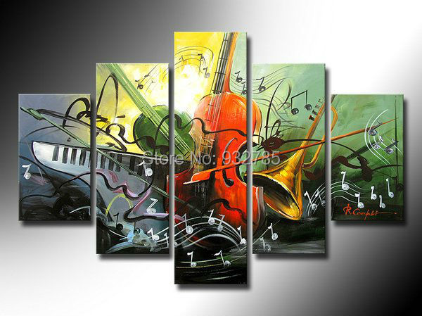 Holiday Sale 100 Hand Painted Discount Abstract Music Paintings Wall Art 5 Panel Canvas Home