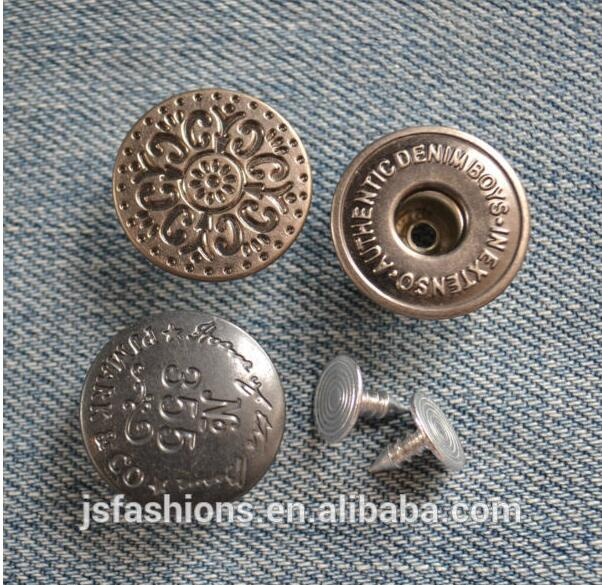 1000 pcs customize Logo Color Jeans button Jeans Studs Buttons in Brass with Pins Hammer on Type Tack Denim Jean button-in Buttons from Home & Garden    1