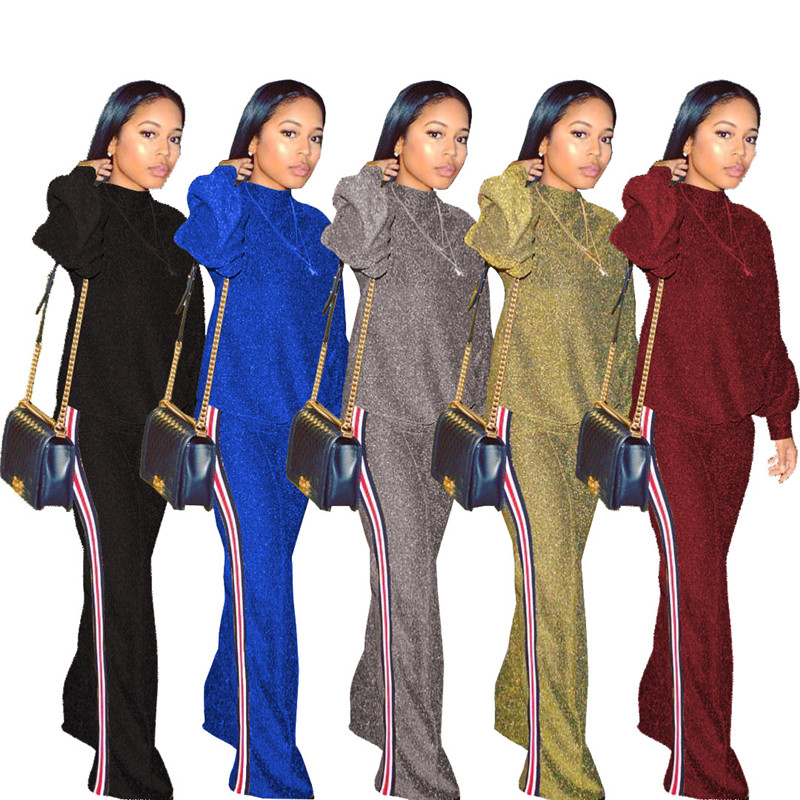 Tracksuit Women Two Piece Set Autumn Winter New Fashion Gold