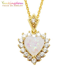 811c3bee2e52 Romántico corazón collares y colgantes para las mujeres Cadena de color oro  de cristal de cz sintético blanco ópalos joyería de .