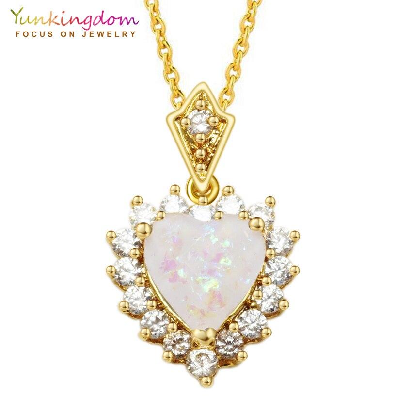 romantic heart necklaces & pendants for women gold color chas