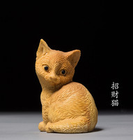 TNUKK Creative home boutique antique toys carving crafts Lucky cat ornaments cat hand carving crafts Animal Gift Decoration.