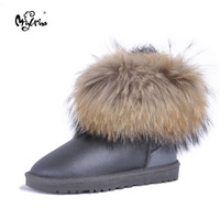 MIYAGINA Top Quality New Fashion Natural Wool Genuine Sheepskin Leather Snow Boots Real Fox Fur Women