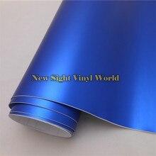 למעלה איכות סאטן מט כרום כחול ויניל גלישת Folie רול אוויר בועת משלוח עבור רכב גלישת גודל: 1.52*20 M/Roll