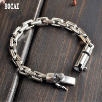 Original couple models S925 solid silver chain jewelry personality pop cross chain real silver bracelet