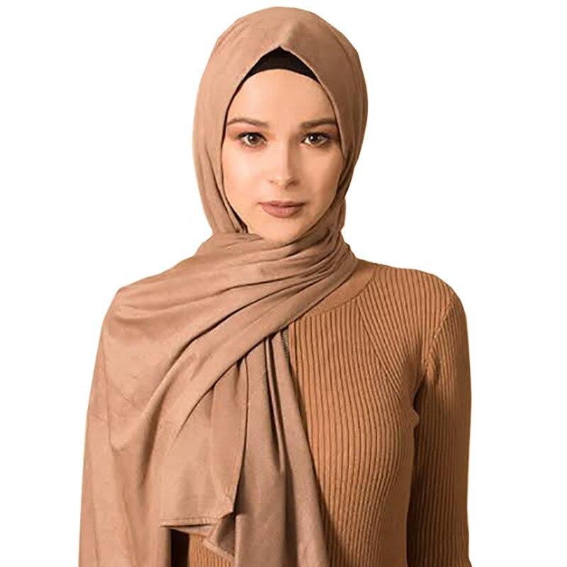Faux-leather Muslim Scarf Women Solid Suede African Hijab Headband Bufanda Mujer Scarfs For Ladies