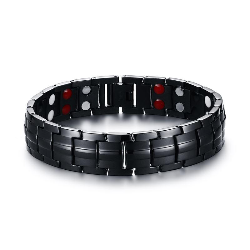 Элегантные мужские черные браслеты титановая сталь Магнитная терапия 2 ряда 4 в 1 пихта, отрицательный ион германий браслет мужские украшени...