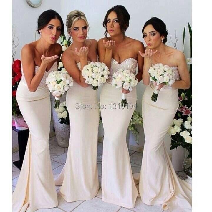 2017 Cheap Wedding Party Custom Made Vintage Sweetheart  Long Ivory Chiffon Mermaid Bridesmaid Dresses