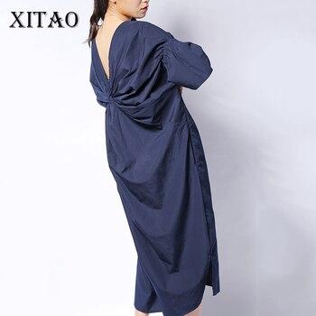 XITAO קוריאני נשים חזרה פי Midi שמלה בתוספת גודל מוצק צבע התלקחות שרוול V צוואר ליידי המפלגה ארוך שמלת הקיץ חדש Fshion HJF019